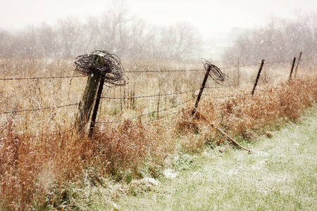 barbed wire fence: An old wooden and barbed wire fence in the country is getting lightly dusted in snow flurries
