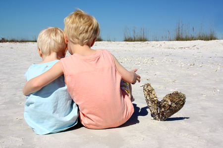 arms around: a young child and his baby brother are sitting together with their arms lovingly around eachother at the beach, with their backs to the camera