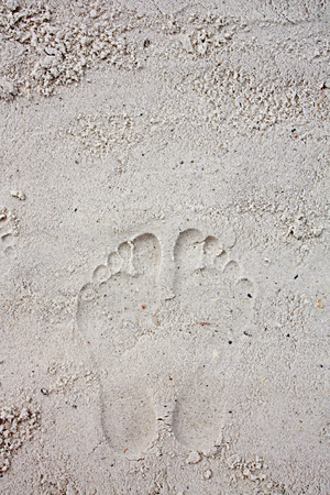 Two footprints are left behind in the soft white sand. Room for text, copyspace. photo
