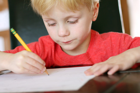 essay: a young, preschool aged child is drawing on a white piece of paper with a writing pencil