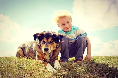 adopt: a young boy child is sitting outside in the grass, smiling as he pets his German Shepherd Dog.  VIntage Style Color. Stock Photo
