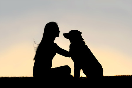 a special and serene moment as a girl is lovingly hugging and looking into the eyes of her German Shepherd Dog, silhouetted against the sunsetting sky