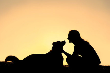 A silhouette of a happy, smiling girl, lovingly petting her German Shepherd dog, isolated against a sunset in the sky.  Copyspace.