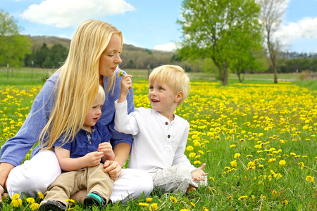 a happy young mother and her to children, a little boy and his baby brother, are sitting outside in a meadow of Dandelion flowers on a nice Spring Day. photo