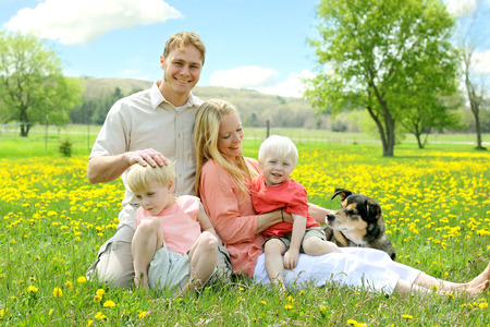 A happy family of four people, including mother, father, young child, baby and German Shepherd dog are relaxing outside in a meadow of yellow flowers on a sunny Spring day  photo