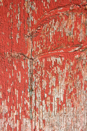 A background of old red wooden barn boards with peeling paint on the exterior of a barn  photo
