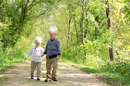 Two young brothers, a little boy and his toddler brother are holding hands and walking along a path the the woods on an Autumn day. photo