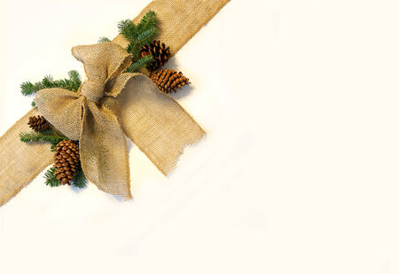 A burlap fabric ribbon is isolated, surrounded by pine cones and evergreen Christmas tree branches, wrapped diagonally across the corner of a white background.