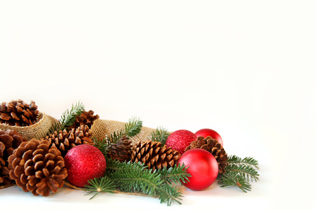 Red Christmas Tree Ornaments, Pine Cones, Evergreen Branches ...