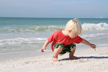 2 year old: A young child is crouching down looking for seashells to pick up on a white sand beach by the ocean while on summer vacation.