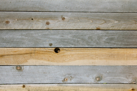 horizontal lines: Un fondo de las tablas de tablones de madera rústica con texturas que se anudan y degradado gris marrón y moreno.