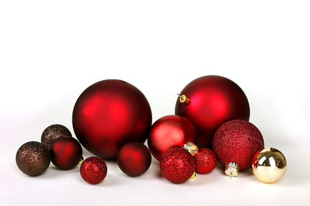 christmas tree ball: Various colorful Christmas Tree Decorative Bulbs are scattered as a frame and isolated on a white background.