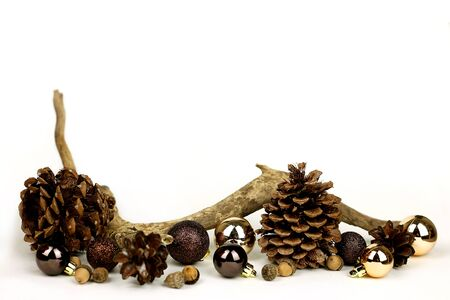 Isolated weathered driftwood, acornes, and pinecones, with gold and brown Christmas Tree decorations frame a white background for Copy-space.