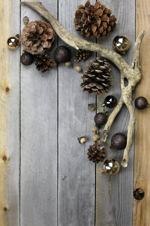 sparkly: Brown and gold sparkly christms tree bulb decorations, pine cones, and acorns frame a background of weathered old barn wood. Stock Photo