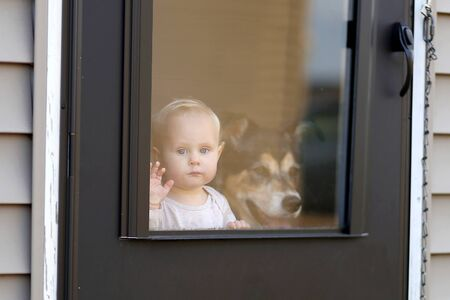 guard house: A 1 year old baby girl and her pet German SHepherd Dog are waiting at the door of their home, looking out the window patiently.