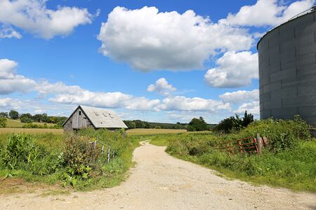 grain fields: A beautful landscape scenery of rolling country hills and fields and blue cloudy sky with an old wooden farm barn or shed and a steel grain storage bin.