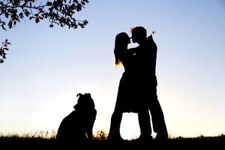 A silhouette of a happy young married couple in love, hugging under Oak tree, next  to their pet dog outside on a summer night.