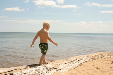 A toddler boy child is walking along some drift wood on the beach shore of Lake Superior.