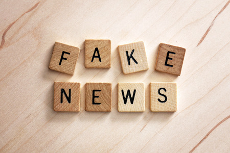 The words fake news are spelled out in wooden letter blocks on a lightwood grain background. Stock Photo