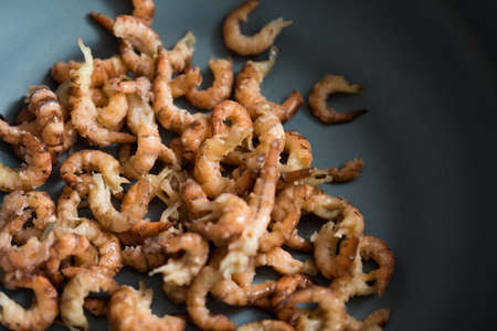 Peeled German Friesland north sea shrimps or crabs in bowl Stock Photo