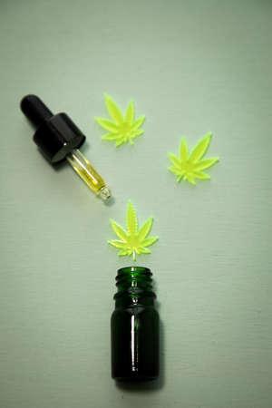 Cannabis marijuana hemp CBD oil as pain killer and medical therapy 写真素材