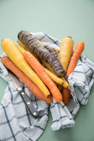 Colorful rainbow carrots in purple, orange and yellow on kitchen towel with knife on pastel mint green background