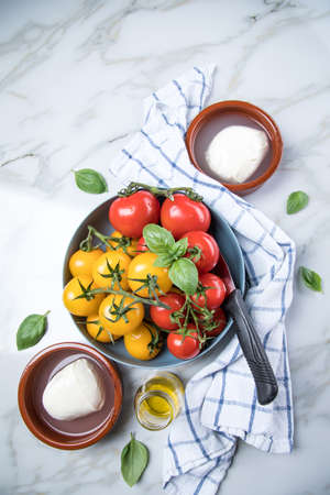 Red and yellow tomatoes with mozzarella cheese, basil and olive oil on marble background Фото со стока