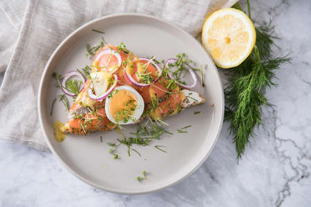 Gravlax a raw, marinated graved salmon on toast bread with Scandinavian mustard sauce, dill, cress, egg, onion rings on porcelain plate linen towel and light marble background Standard-Bild