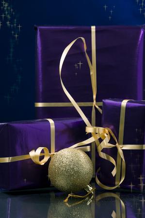 christmas stars: Christmas gifts and gold decoration and Christmas stars