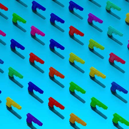 3d low-poly guns illustration pattern, pop art colors