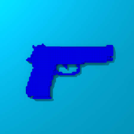 Blue rendered gun, low-poly illustration on colorful background Stock Photo