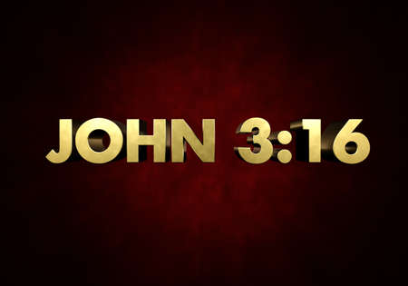 new testament: The word JOHN 3:16 written in vintage metal letter press type in a red background