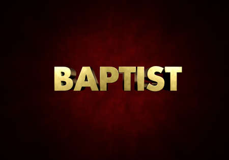 The word BAPTIST written in vintage metal letter press type in a red background