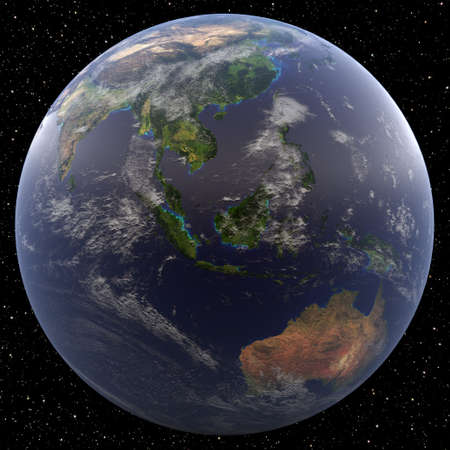 Earth focused on South East Asia viewed from space. Countries viewed include Brunei, Burma (Myanmar), Cambodia, East Timor, Indonesia, Laos, Malaysia, the Philippines, Singapore, Thailand, and Vietnam.
