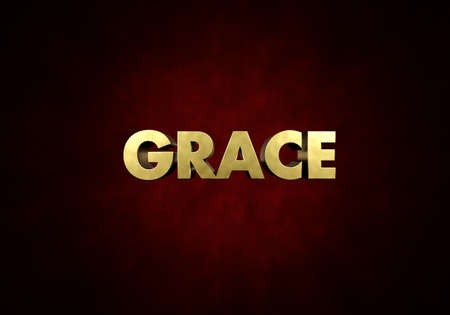 The word GRACE written in vintage metal letter press type in a red background