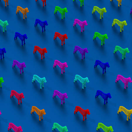 Colorful low-poly abstract dogs illustration pattern