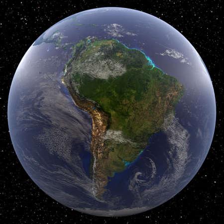 Tierra centró en América del Sur, vista desde el espacio. Los países son Argentina, Bolivia, Brasil, Chile, Colombia, Ecuador, Guyana, Paraguay, Perú, Surinam, Uruguay y Venezuela.