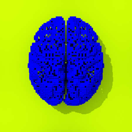 pixelated: Blue pixelated low poly brain illustration on yellow background