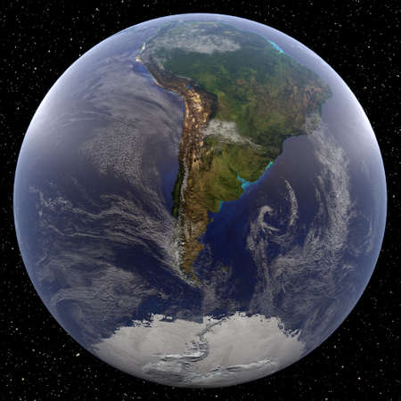 Earth focused on the South Pole (Argentina) viewed from space. Countries viewed include Argentina and Brazil