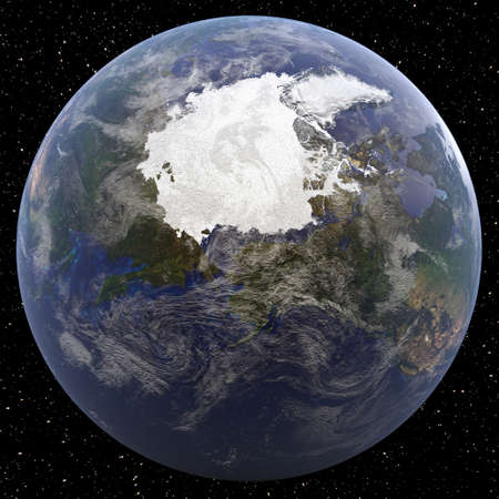 Earth focused on North Pole viewed from space.