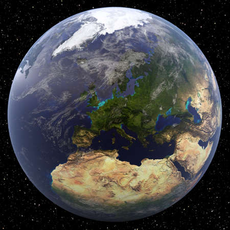 Earth focused on Northern Europe viewed from space. Countries include Albania, Andorra, Austria, Belarus, Belgium, Bosnia and Herzegovina, Bulgaria, Croatia, Cyprus, Czech Republic, Denmark, Estonia, Finland, France, Germany, Greece, Hungary, Iceland, Ire