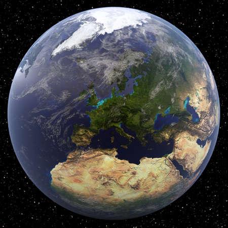 Aarde gericht op Noord-Europa gezien vanuit de ruimte. Landen zijn Albanië, Andorra, Oostenrijk, Wit-Rusland, België, Bosnië-Herzegovina, Bulgarije, Kroatië, Cyprus, Tsjechië, Denemarken, Estland, Finland, Frankrijk, Duitsland, Griekenland, Hongarije, IJsland, Ire Stockfoto