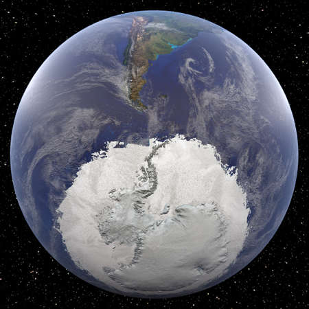 Earth focused on South Pole viewed from space. Countries viewed include Argentina. 写真素材