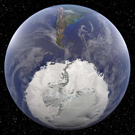 Aarde gericht op de Zuidpool gezien vanuit de ruimte. Landen bekeken onder meer Argentinië. Stockfoto
