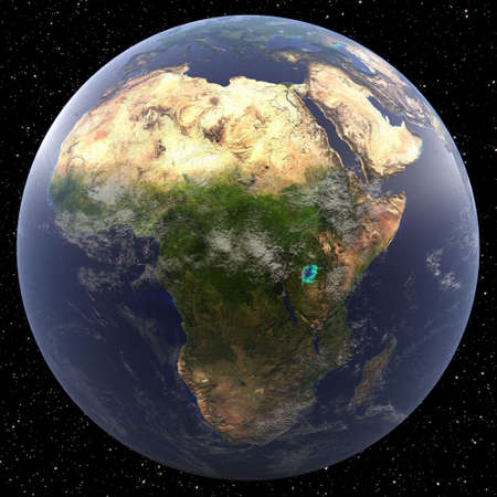 Earth focused on Africa viewed from space. Countries viewed include Algeria, Angola, Benin, Botswana, Burkina Faso, Burundi, Cameroon, Cape Verde, Central African Republic, Chad, Comoros, Democratic Republic of the Congo, Côte d'Ivoire, Djibouti,  Egypt,