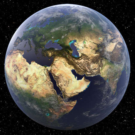 Earth focused on Middle East viewed from space. Countries viewed include Turkey, Syria, Lebanon, Israel, Jordan, Iraq, Iran, Afghanistan, Saudi Arabia, Yemen, Oman, the United Arab Emirates, Qatar, Bahrain, Kuwait, Egypt, Libya, and Sudan.