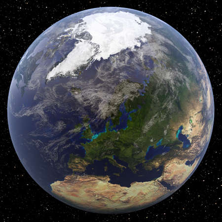 Earth focused on North Pole (Europe) viewed from space.