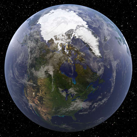 Earth focused on North Pole viewed from space. Countries viewed include USA (United States of America), Canada, and Mexico.