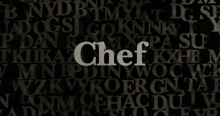 chef 3d: Chef - 3D rendered metallic typeset headline illustration.  Can be used for an online banner ad or a print postcard.