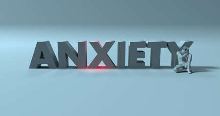 ocd: 3d render of suffering, pressured man near anxiety text sign illustration